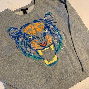 Forever 21 distressed tiger sweatshirt